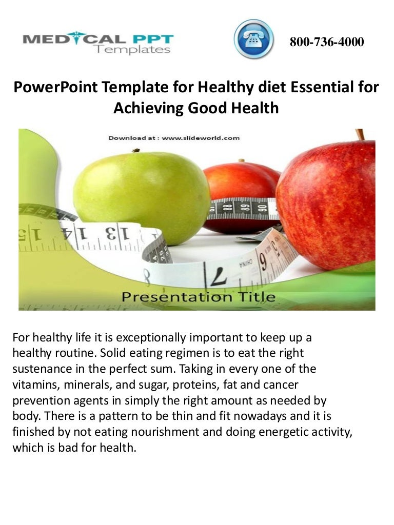 Powerpoint Template For Healthy Diet Essential For Achieving Good Hea
