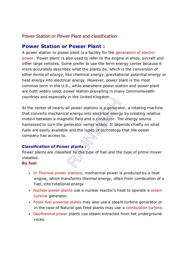 Power Station Or Plant And Classification Process Flow Diagram Nuclear Powerstationorpowerplantandclassification 120815132417 Phpapp02 Thumbnail 4cb1345037222