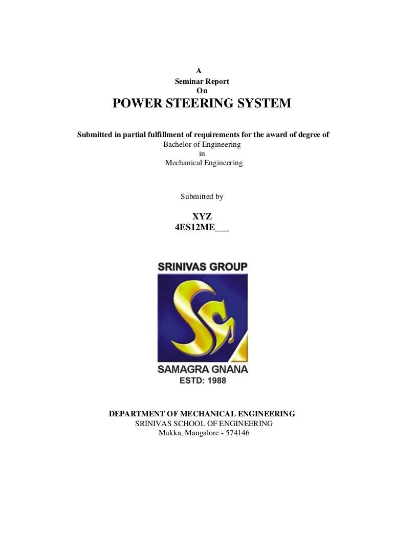 Power Steering Seminar Report Pdf Download Wiring Simplified