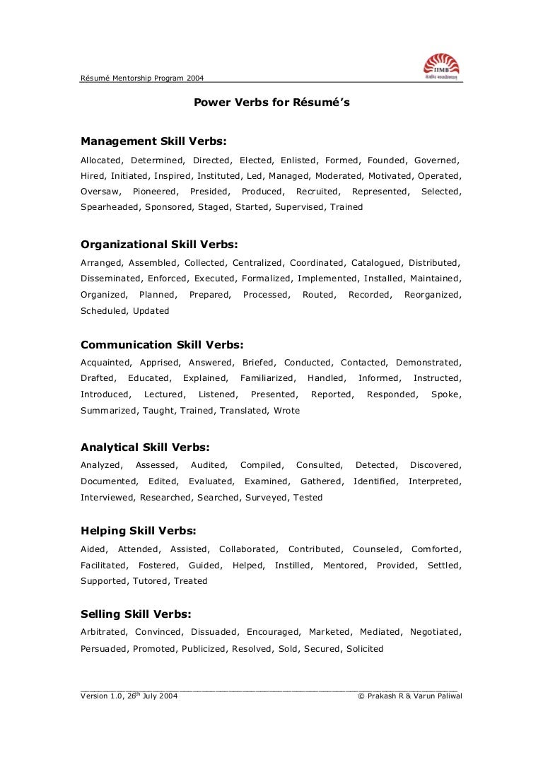Power Action Verbs Resume ...  Resume Verbs List