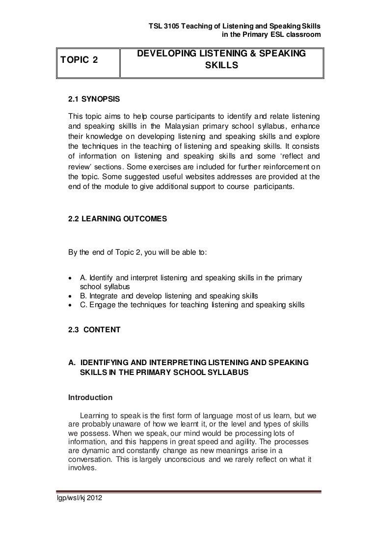 Ppg module tsl3105 topic 2 developing listening & speaking
