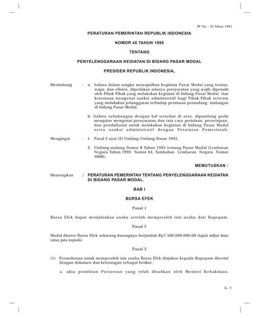 PP Nomor 45 Tahun 1995 Tentang Penyelenggaraan Pasar Modal