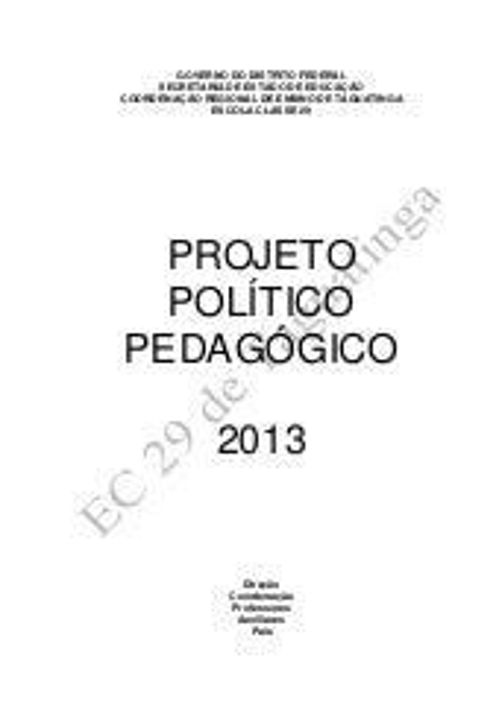 PPP 2013 Escola Classe 29 de Taguatinga