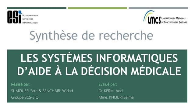 Systèmes informatiques d'aide à la décision médicale