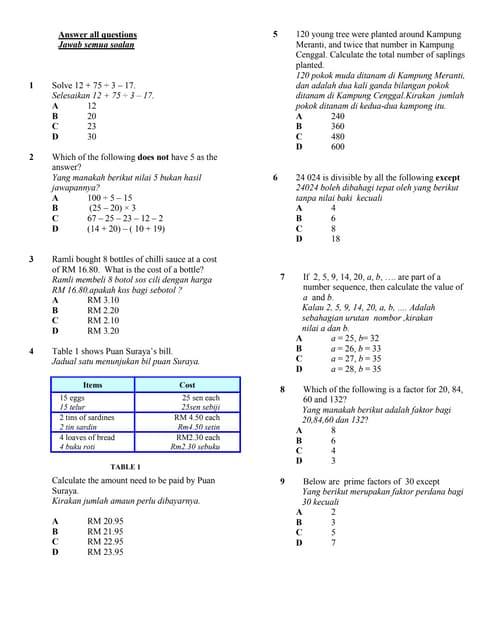 Mid Year Form 1 Paper 1 2010 Mathematics