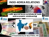 Indo-Korea relations with focus on trade