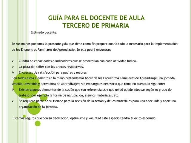 ENCUENTRO FAMILIAR DE APRENDIZAJE - PRIMARIA