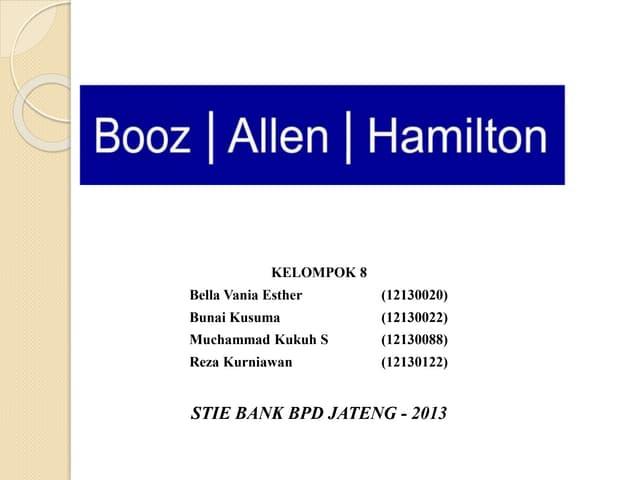 booz allen hamilton vision 2000 case study Wordpress shortcode link booz - allen & hamilton vision 2000 240 views pada tahun 1993, booz allen & hamilton mengeluarkan rencana strategis baru yang disebut visi 2000 salah satu tujuan utama rencana ini adalah untuk memanfaatkan modal intelektual perusahaan melalui program.