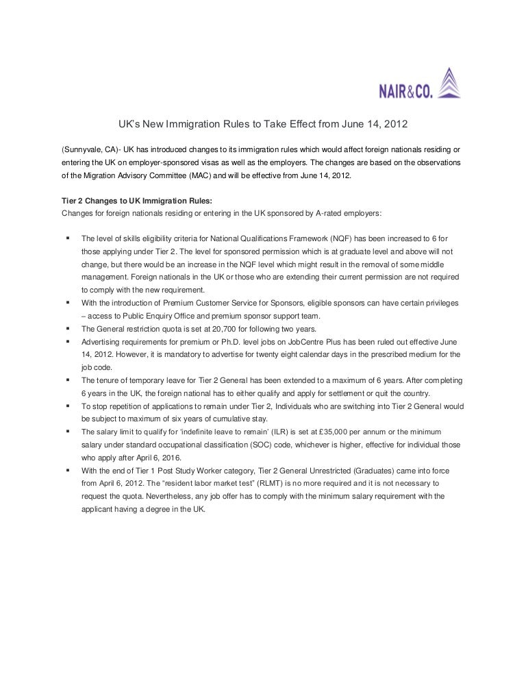 UK's New Immigration Rules to Take Effect from June 14, 2012