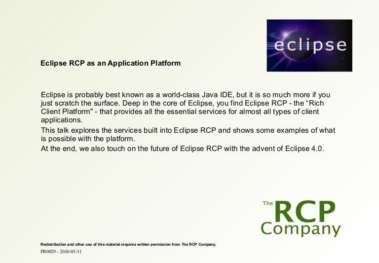 Eclipse Banking Day In Copenhagen Eclipse Rcp As An Application Pla
