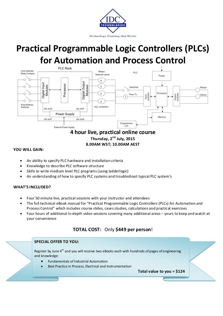 Practical Programmable Logic Cntrollers Plcs For Automation And Pro Control Diagram