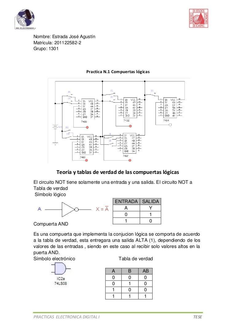 Circuito Not : Practicas electronica digital 1.tese.ag