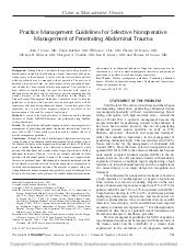 Practice management guidelines for selective nonoperative manegement of penetrating abdominal  trauma