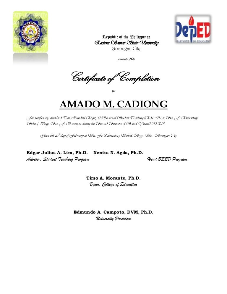 practice teaching certificate