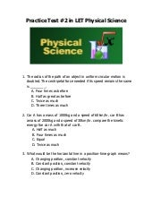 LET Practice Test 2 in Physical Science