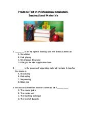 LET Practice test in Professional Education-Instructional Materials