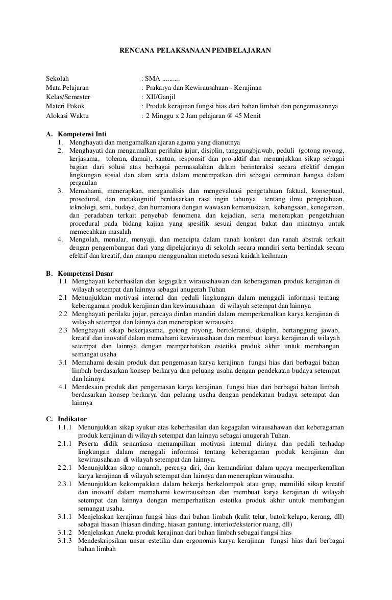 Rpp Prakarya Dan Kewirausahaan Kerajinan Sma Kelas Xii