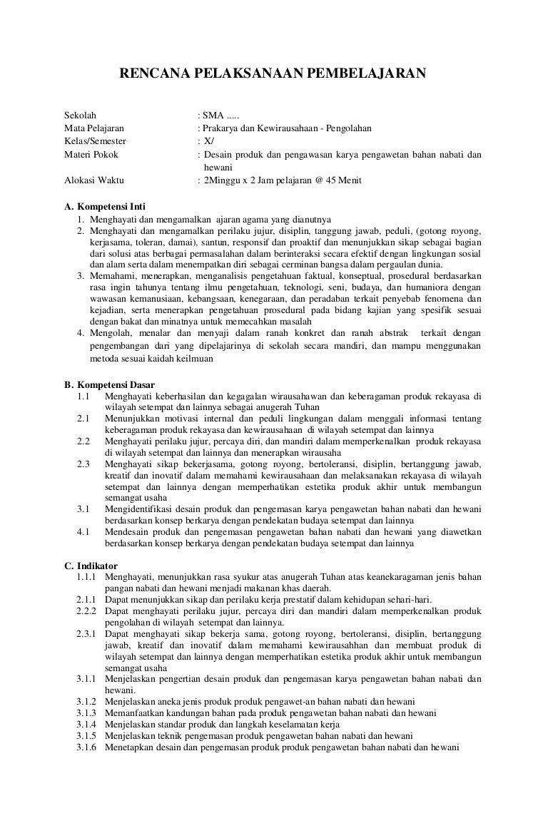 Rpp Sma Prakarya Dan Kewirausahaan Pengolahan Kelas X