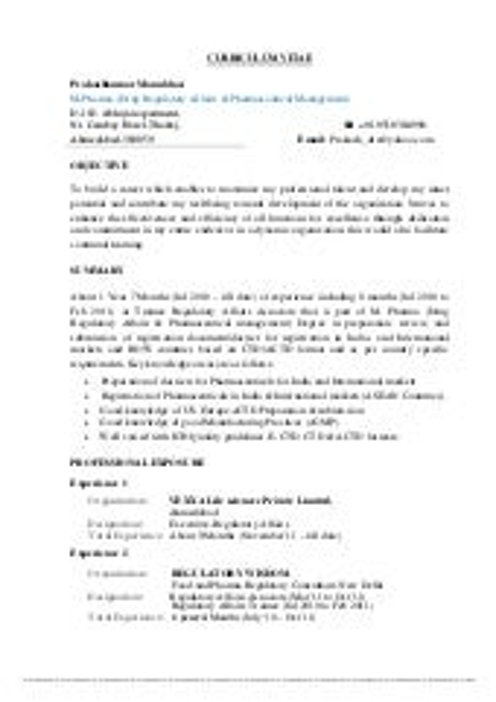 CV resume pharmaceutical industry jobs SlideShare