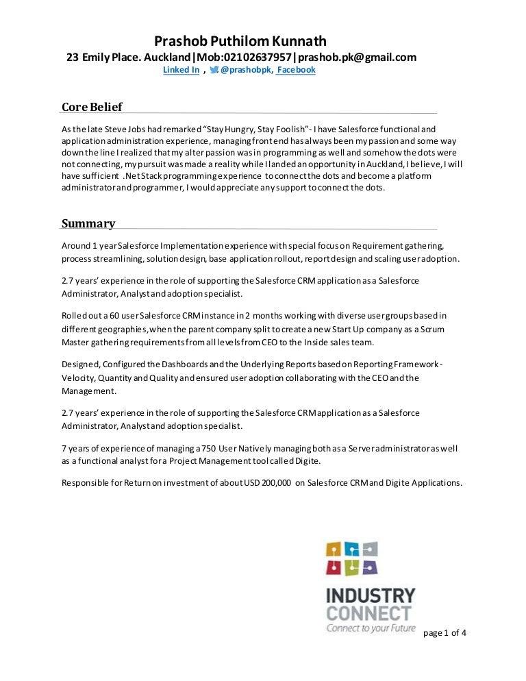 cognos sample resume