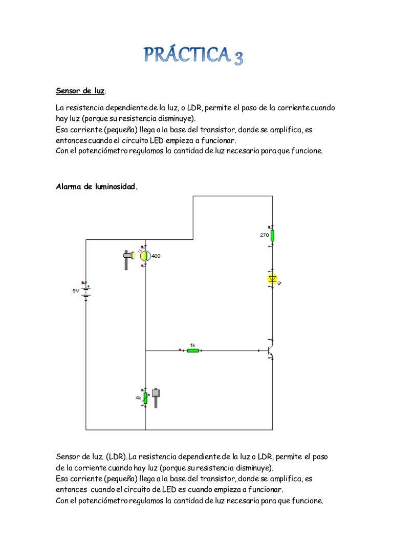 Circuito Led : Práctica 3 sensor de luz