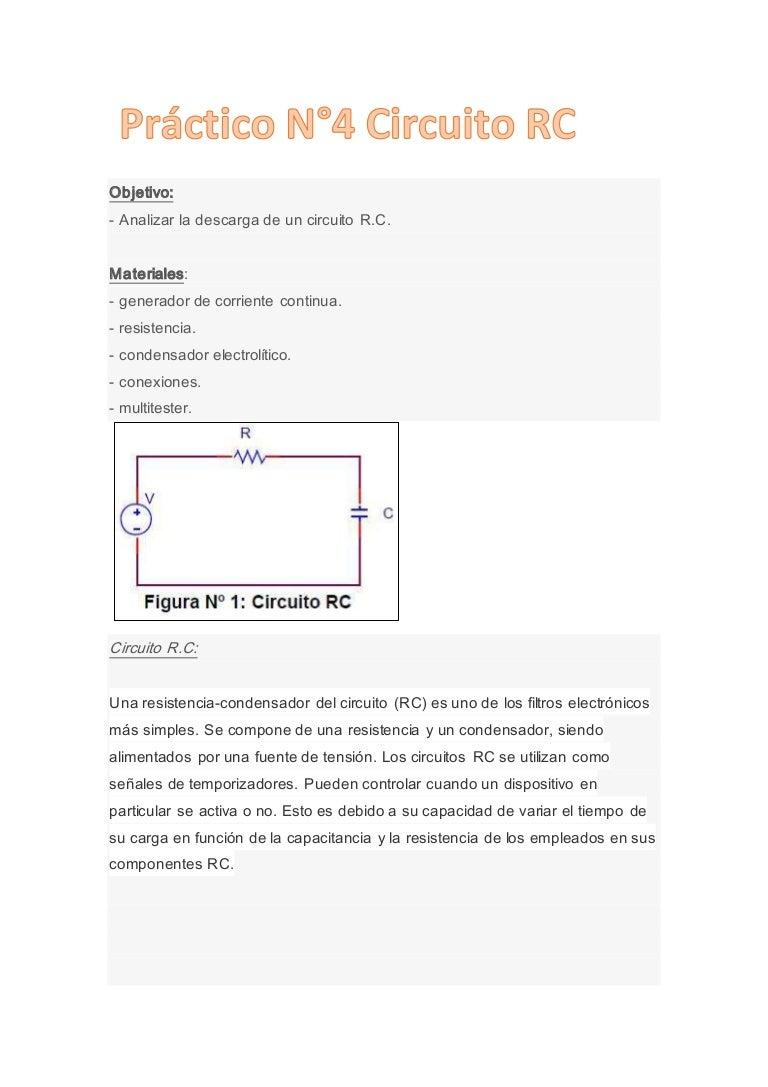 Circuito Rc : Práctico n°4 circuito rc
