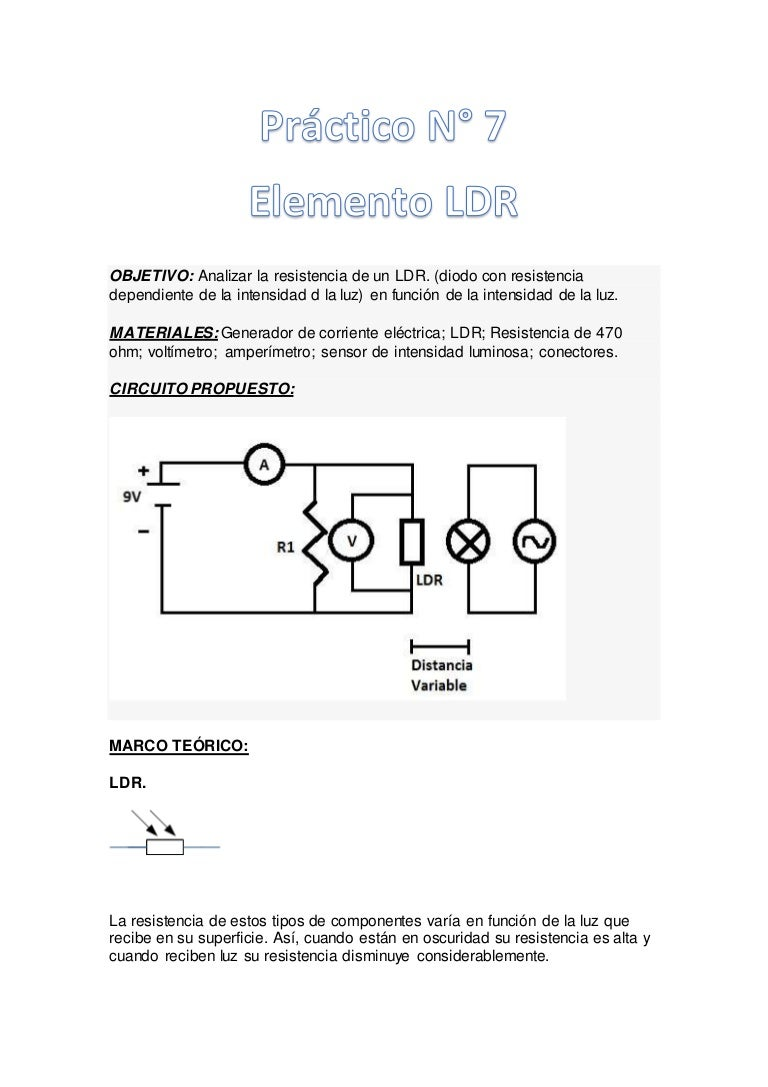 Prctico N7 Ldr Circuito De Sensor Luz Com Te1