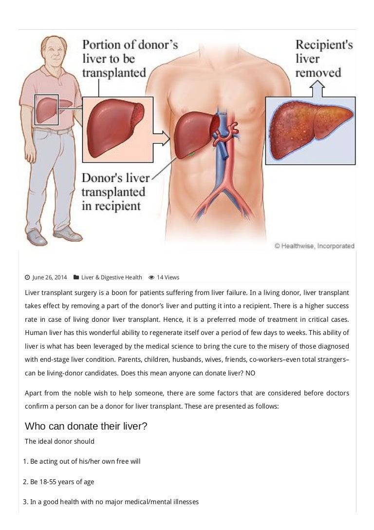 Pre-requisites for liver transplant donors