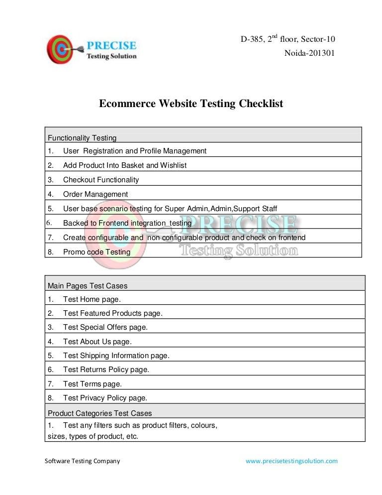 Ecommerce Website Testing Checklist