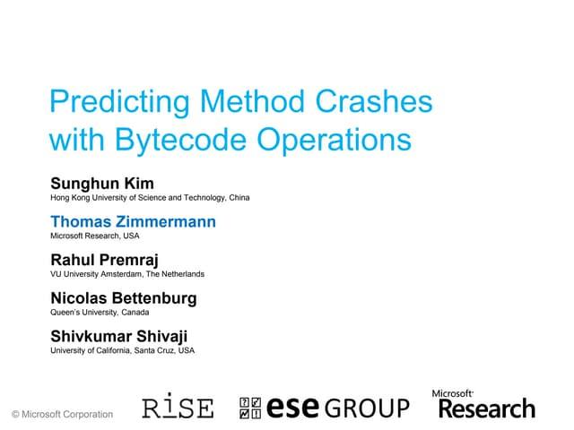 Predicting Method Crashes with Bytecode Operations