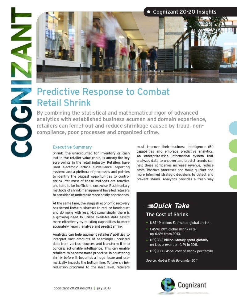 Predictive Response to Combat Retail Shrink