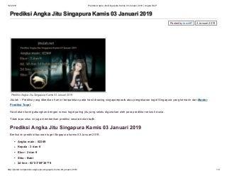 Prediksi angka jitu singapura kamis 03 januari 2019 angka sgp