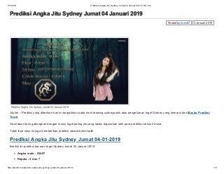 Prediksi angka jitu sydney jumat 04 januari 2019 sd jitu