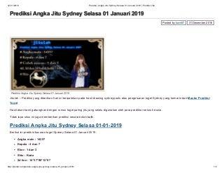 Prediksi angka jitu sydney selasa 01 januari 2019 prediksi jitu