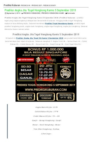 """""""Prediksi Angka Jitu Togel Hongkong Kamis 5 September 2019"""""""