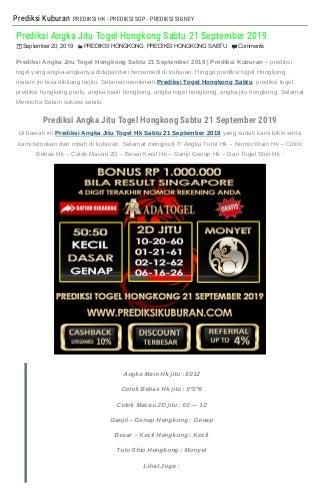 """""""Prediksi Angka Jitu Togel Hongkong Sabtu 21 September 2019"""""""