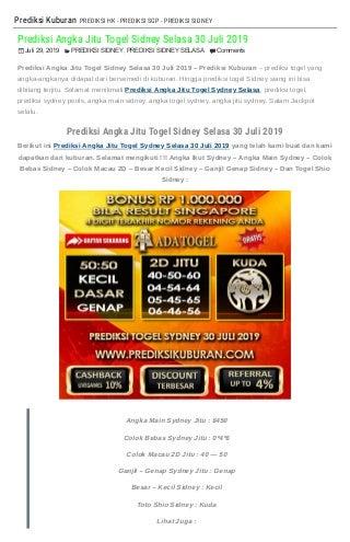 """""""Prediksi Angka Jitu Togel Sidney Selasa 30 Juli 2019"""""""
