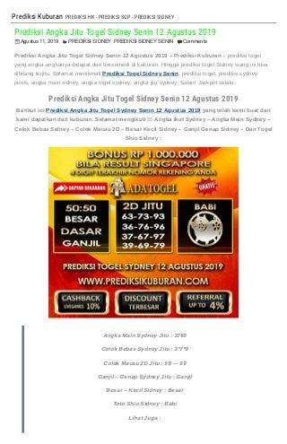 """Prediksi Angka Jitu Togel Sidney Senin 12 Agustus 2019"""