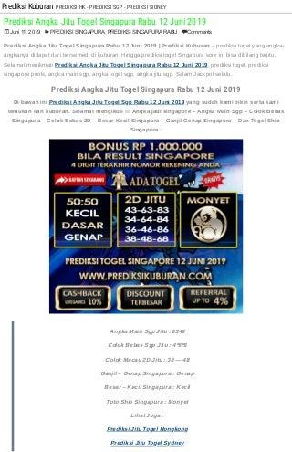 Prediksi Angka Jitu Togel Singapura Rabu 12 Juni 2019
