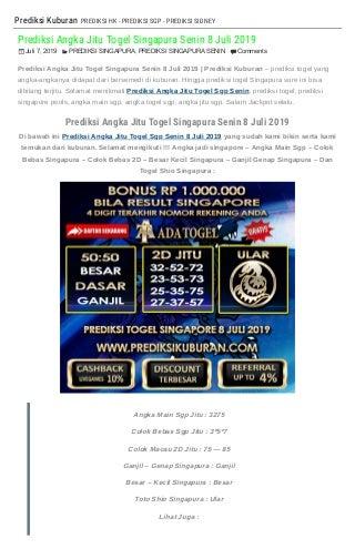 """""""Prediksi Angka Jitu Togel Singapura Senin 8 Juli 2019"""""""