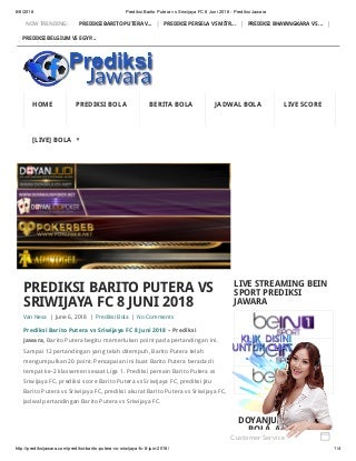 Prediksi barito putera vs sriwijaya fc 8 juni 2018 prediksi jawara