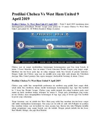 Prediksi chelsea vs west ham united 9 april 2019