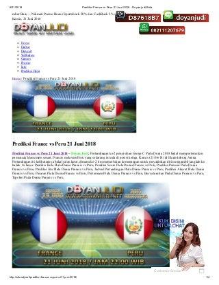 Prediksi france vs peru 21 juni 2018 doyan judi bola
