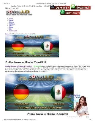 Prediksi jerman vs meksiko 17 juni 2018 doyan judi