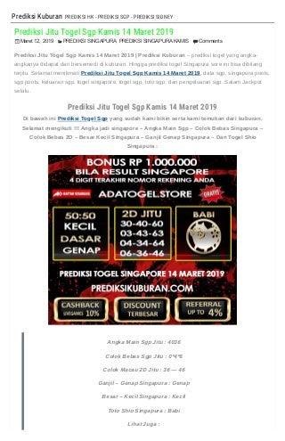 Prediksi Keluaran Togel Singapore 14 Maret 2019 - PREDIKSIKUBURAN