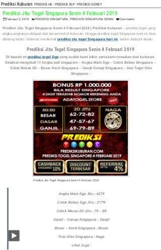 Prediksi jitu togel singapura senin 4 februari 2019