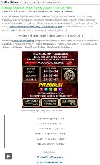 Prediksi keluaran togel sidney jumat 1 febuari 2019