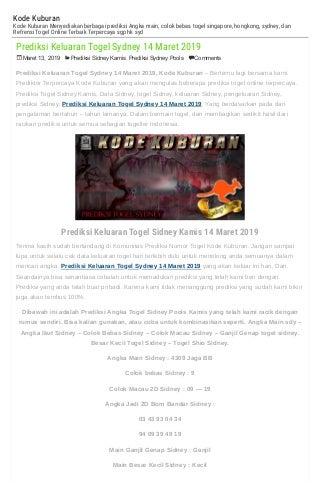 Prediksi Keluaran Togel Sydney 14 Maret 2019 - KODEKUBURAN