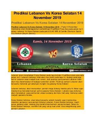 Prediksi lebanon vs korea selatan 14. november 2019