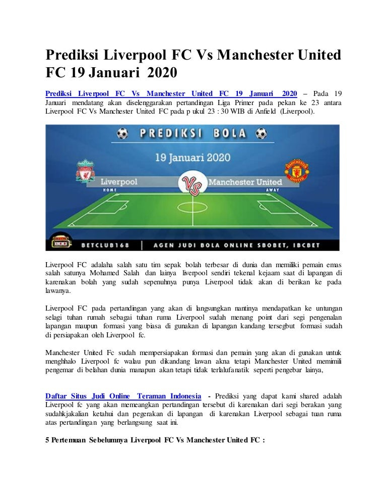 Prediksi Liverpool Fc Vs Manchester United Fc 19 Januari 2020